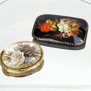 2 Pieces Vintage Floral Brooches Lot